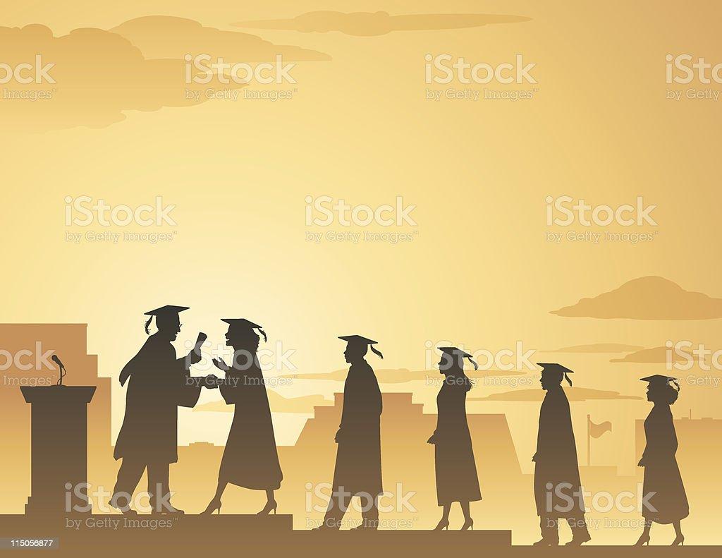 Graduation line scene vector art illustration