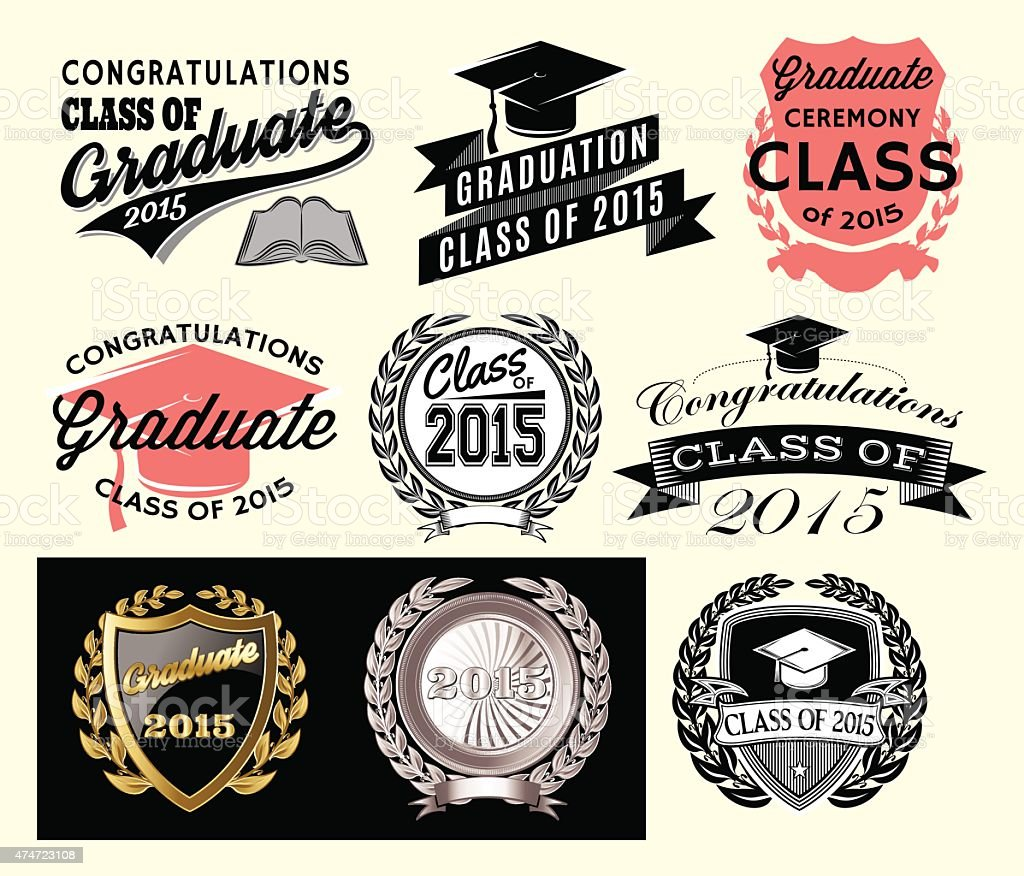 Graduation sector set for class of 2015 vector art illustration