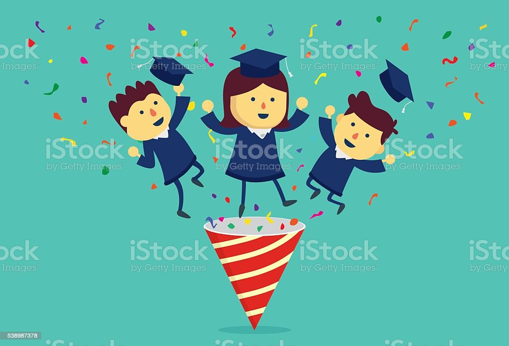 Graduation student out of party popper. vector art illustration