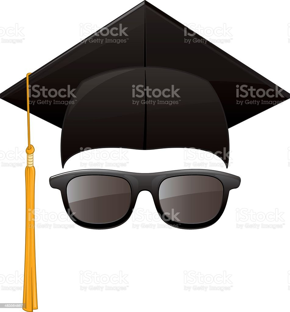 Graduation Sunglasses vector art illustration