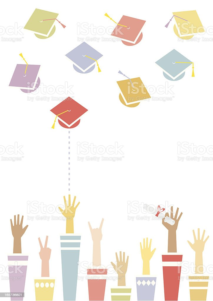 Graduation Toss royalty-free stock vector art