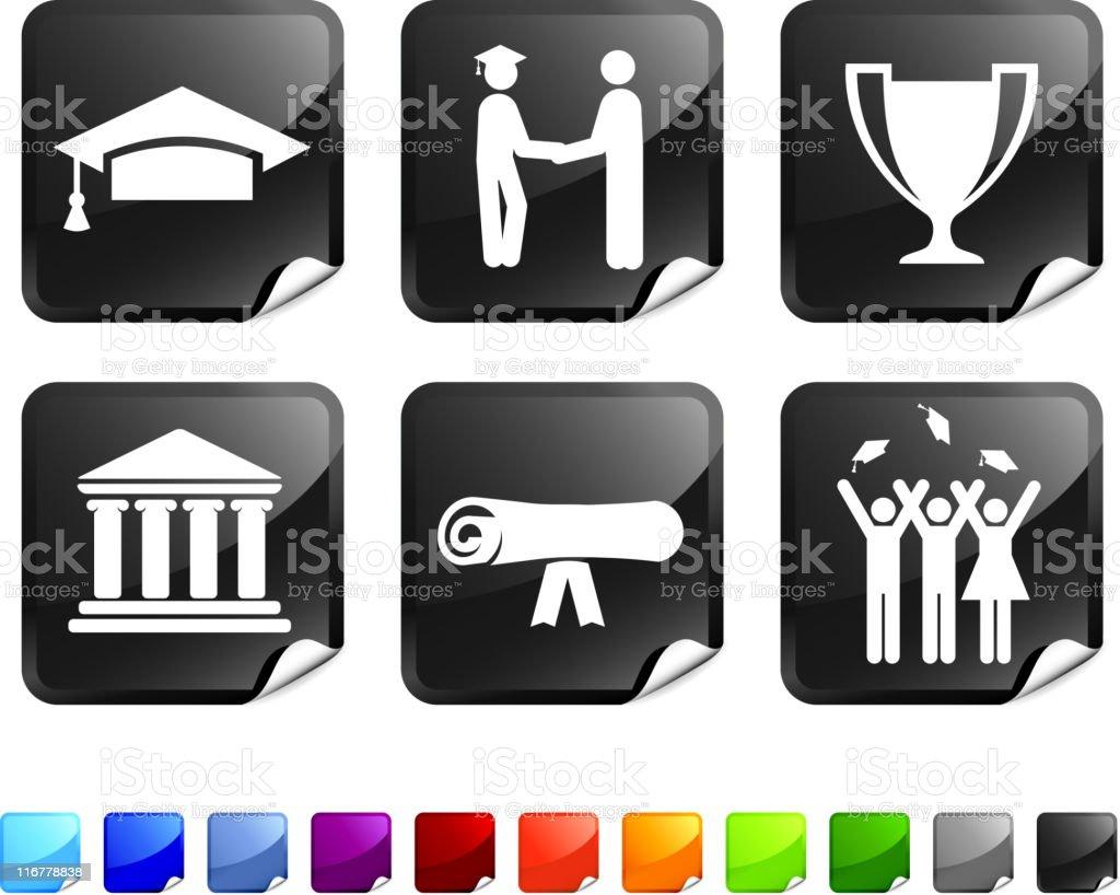 graduation vector icon set royalty-free stock vector art