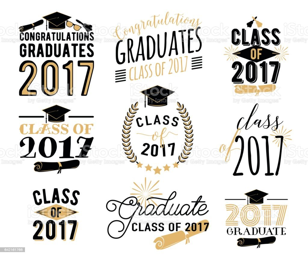 Graduation wishes overlays, labels set. Retro graduate class of 2017 badges vector art illustration