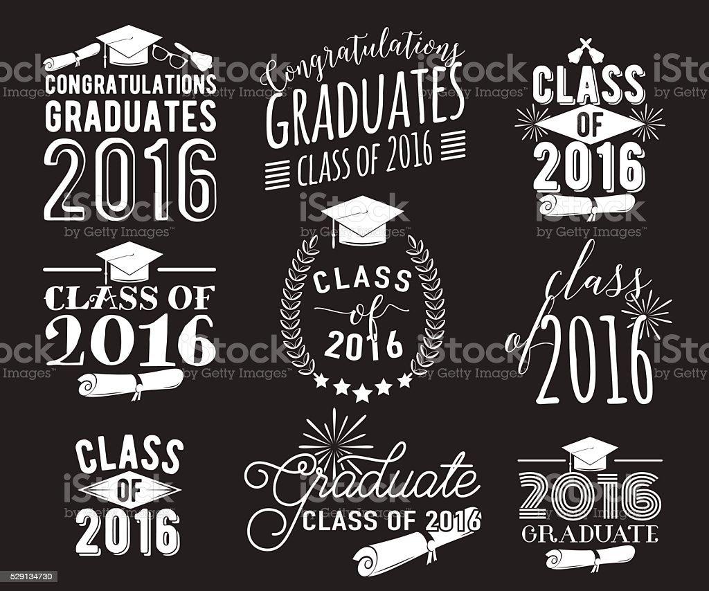 Graduation wishes overlays, lettering labels design set. Monochrome  graduate class vector art illustration