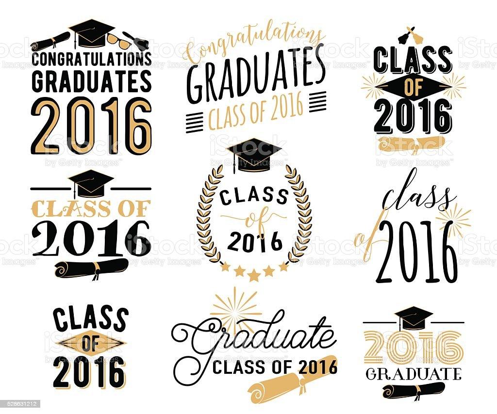 Graduation wishes overlays, lettering labels design set. Retro graduate class vector art illustration