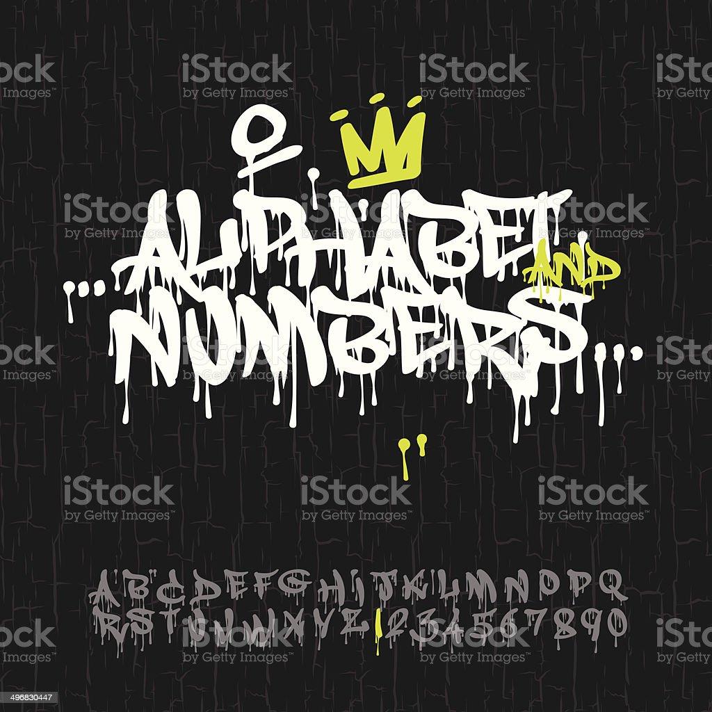 Graffiti alphabet and numbers vector art illustration