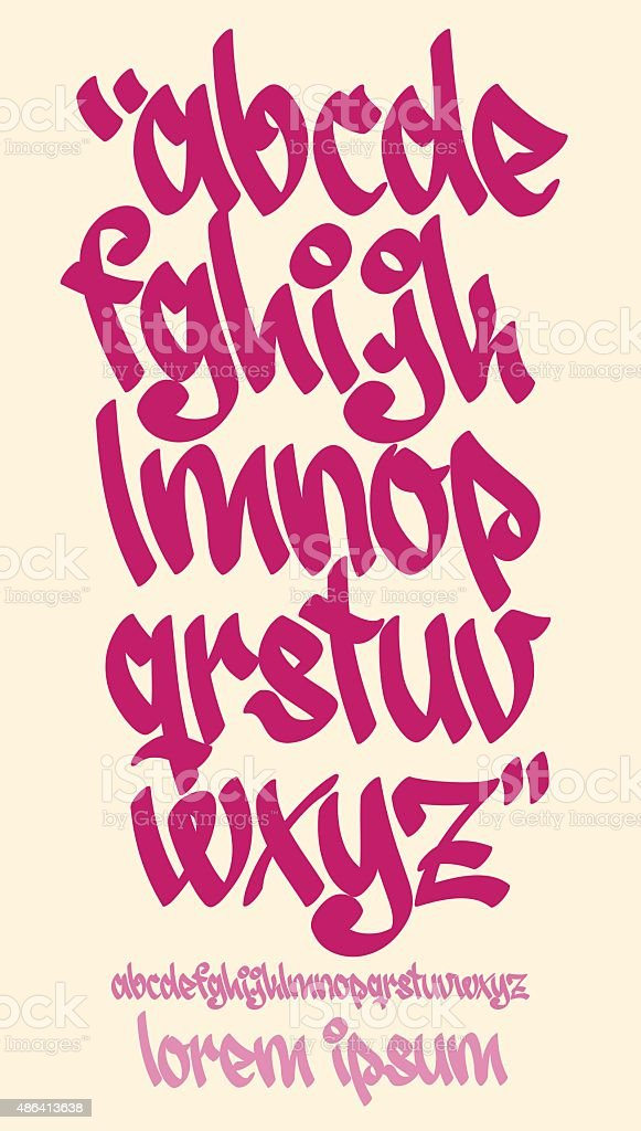 Graffiti alphabet - Handwritten - Vector lowercase font vector art illustration