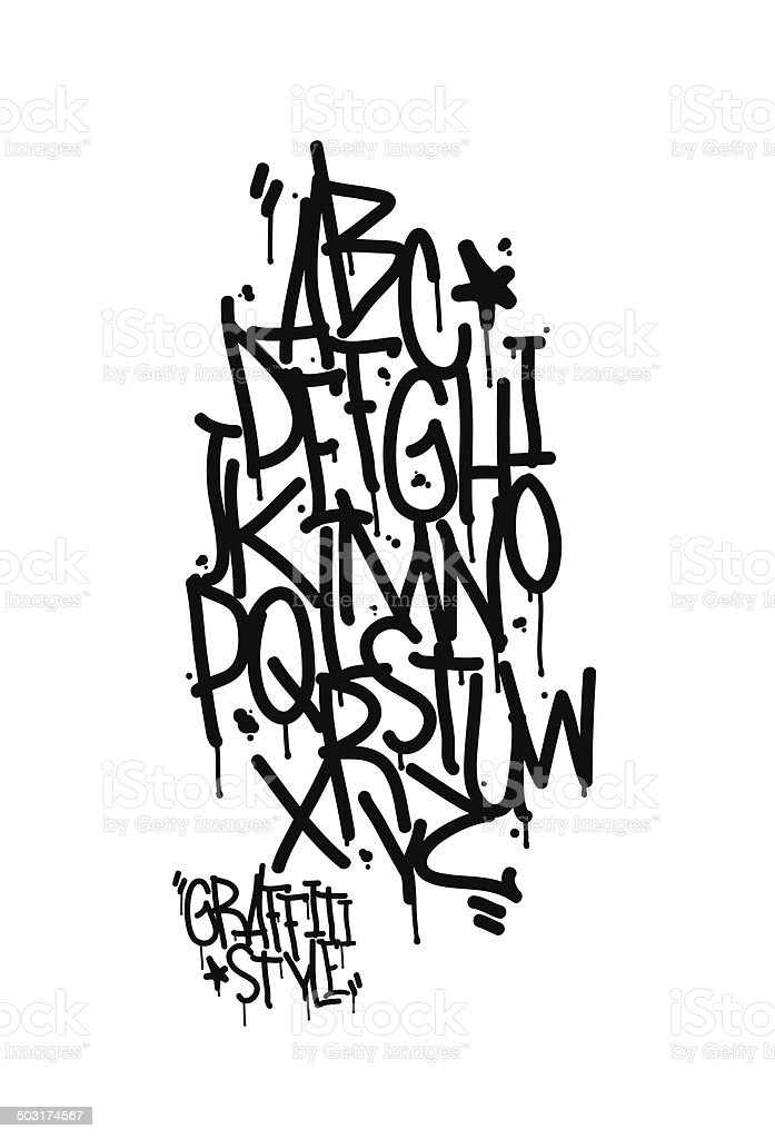 Graffiti alphabet. Letters of the alphabet written with a cans vector art illustration