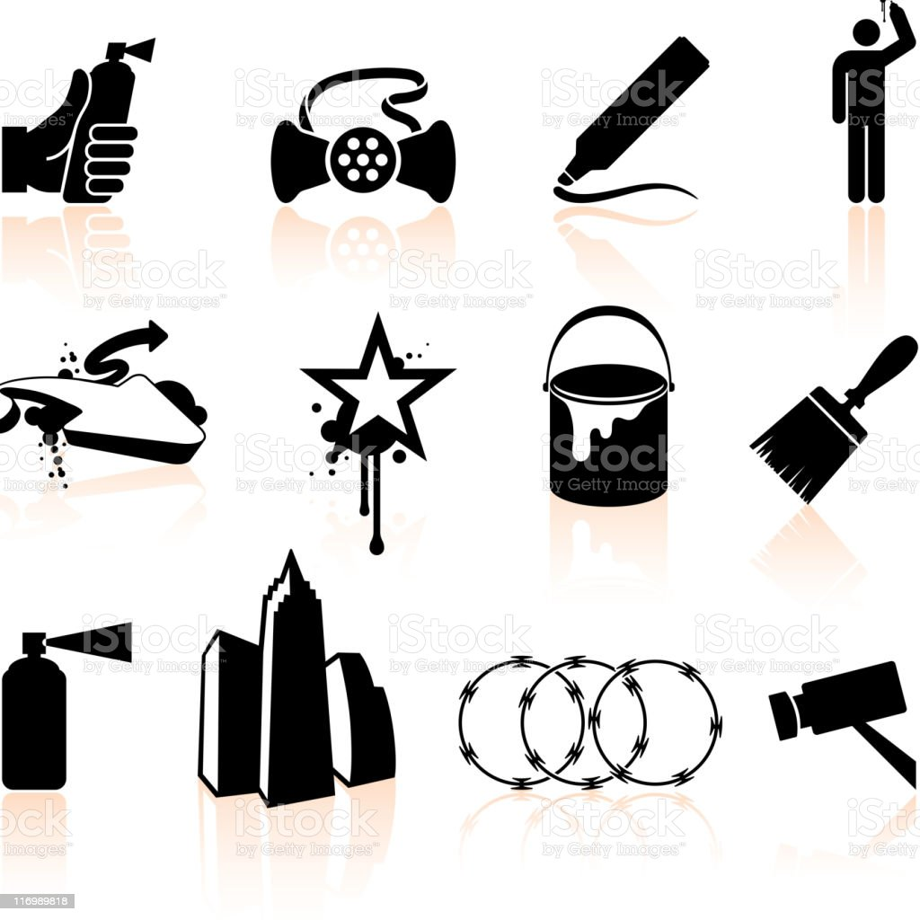 Graffiti Artist black and white royalty free vector icon set vector art illustration