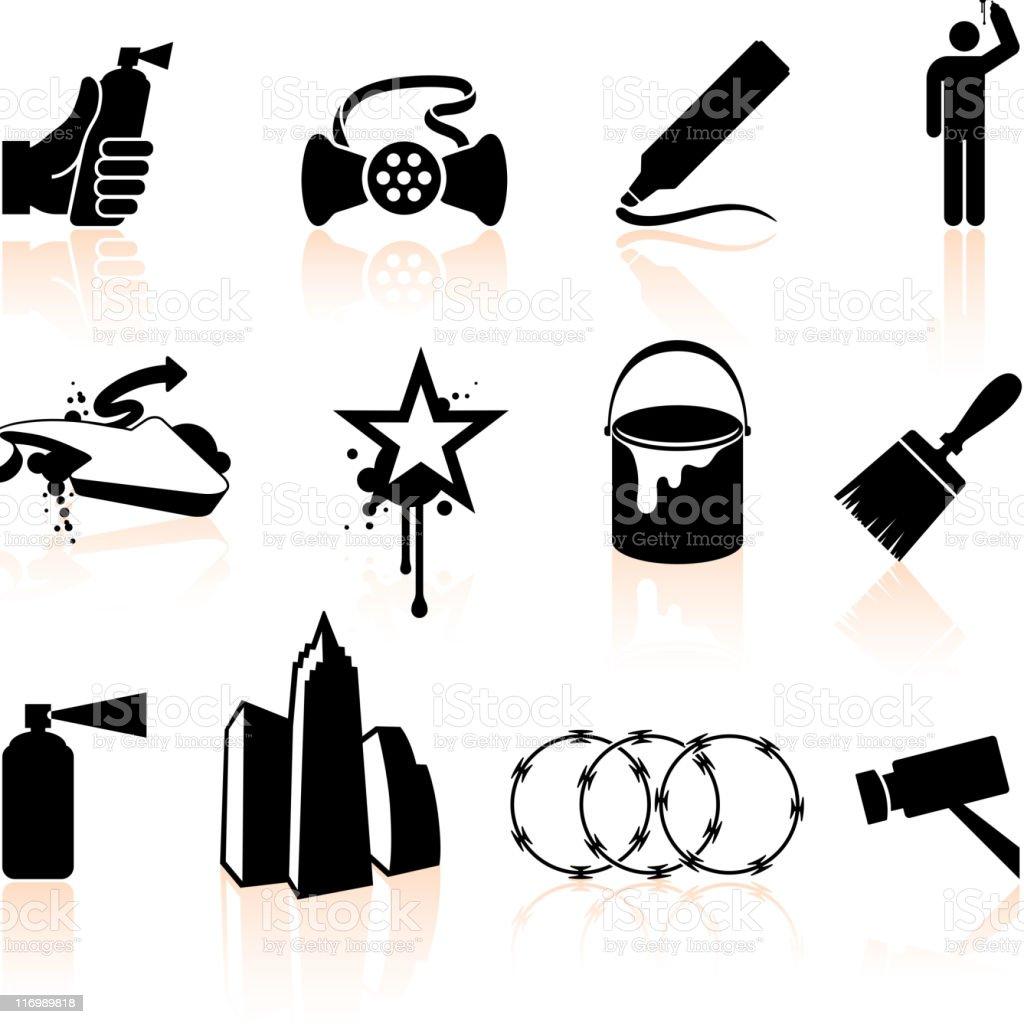 Graffiti Artist black and white royalty free vector icon set vector art illustration