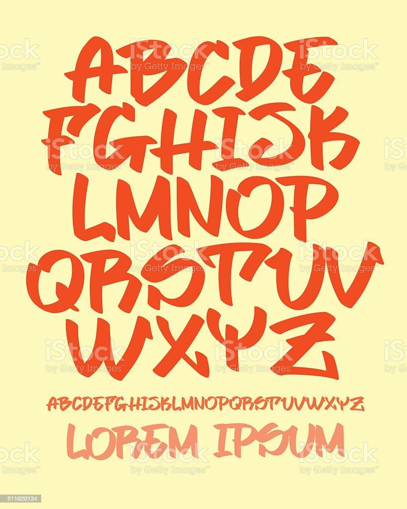 Graffiti font - Hand written - Vector alphabet vector art illustration