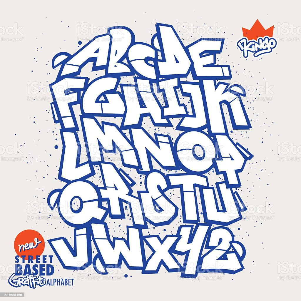 Graffiti Font vector art illustration