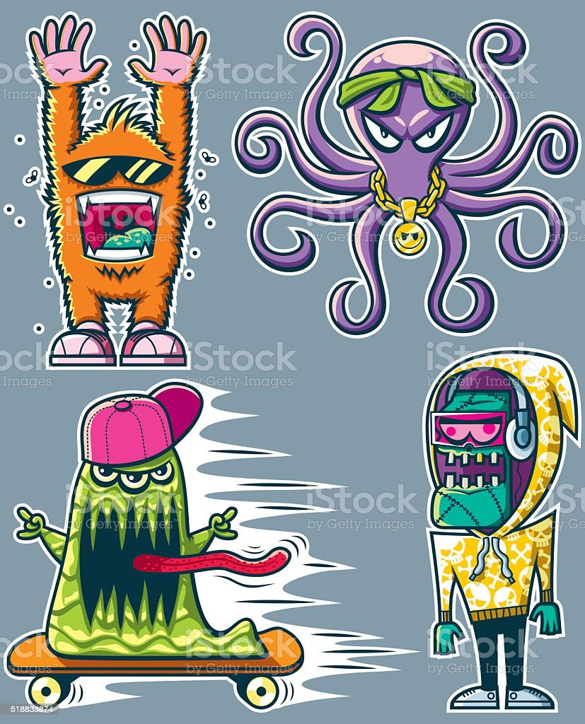 Graffiti Monsters vector art illustration