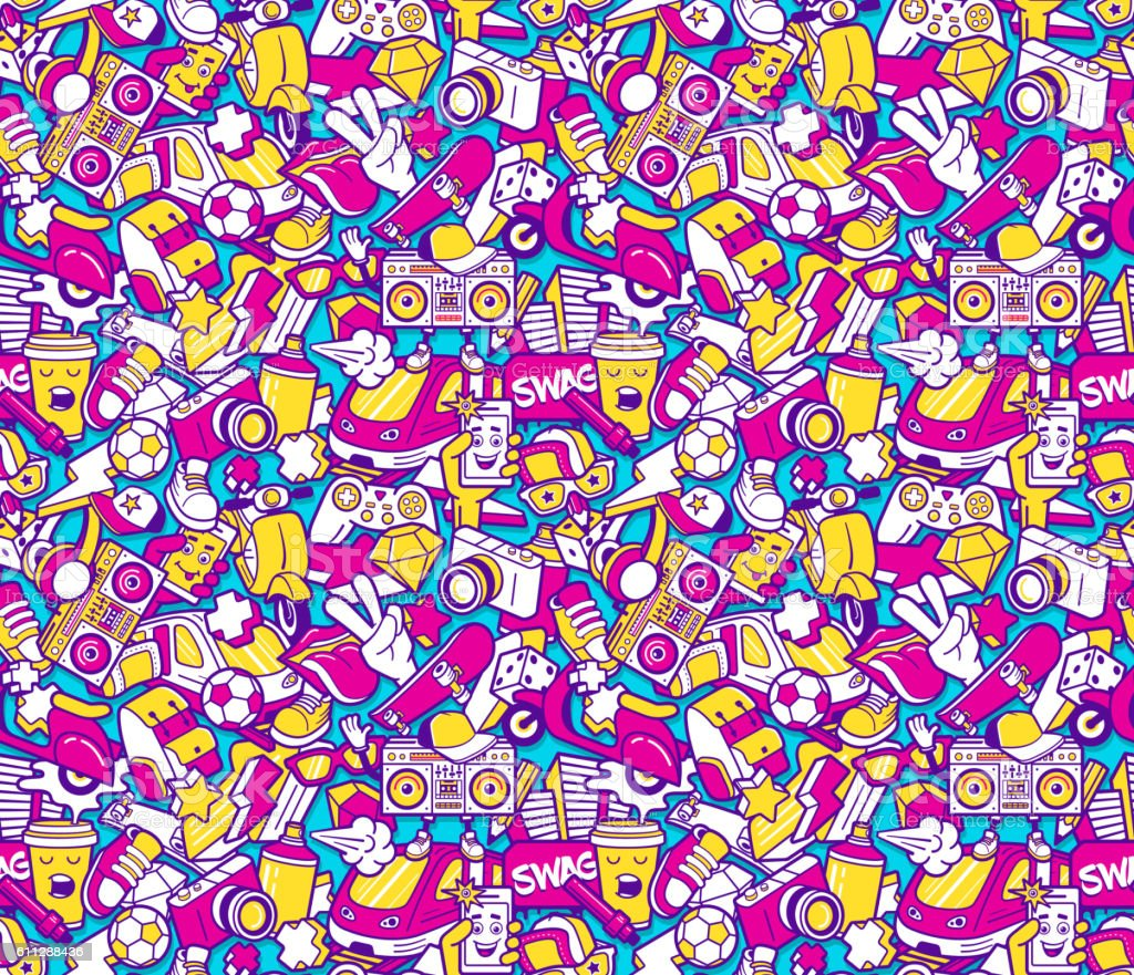 Graffiti seamless pattern with line icons collage vector art illustration
