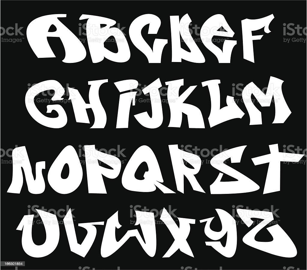 Graffiti style vector alphabet on black background  vector art illustration