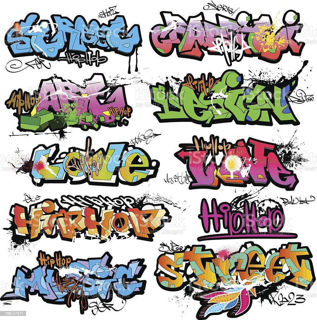 Graffiti urban art against white background vector art illustration