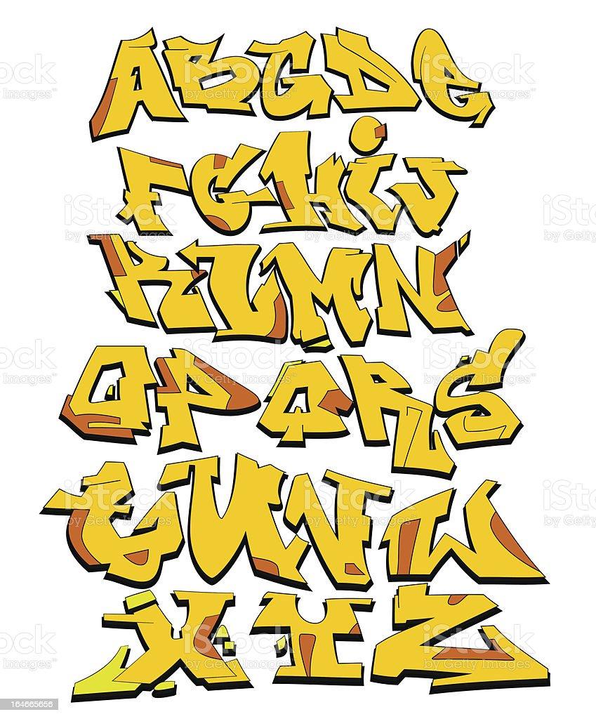 Graffiti vector alphabet vector art illustration