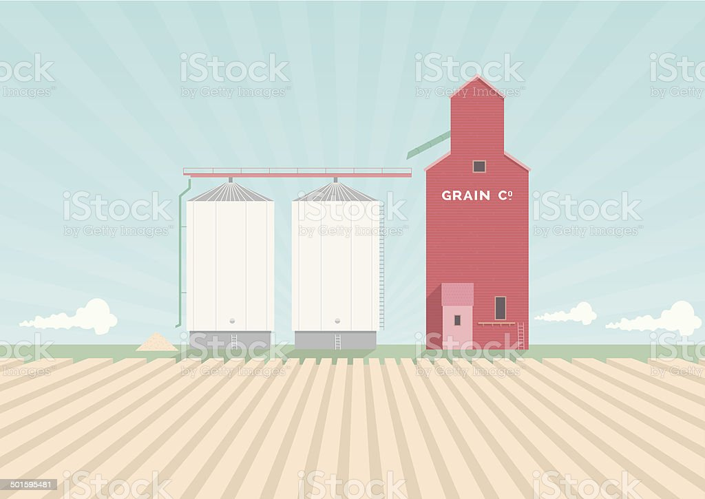 Grain Elevator Poster royalty-free stock vector art