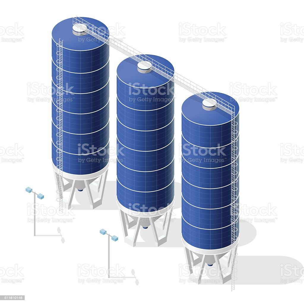 Grain silo, isometric blue building infographic on white background. vector art illustration