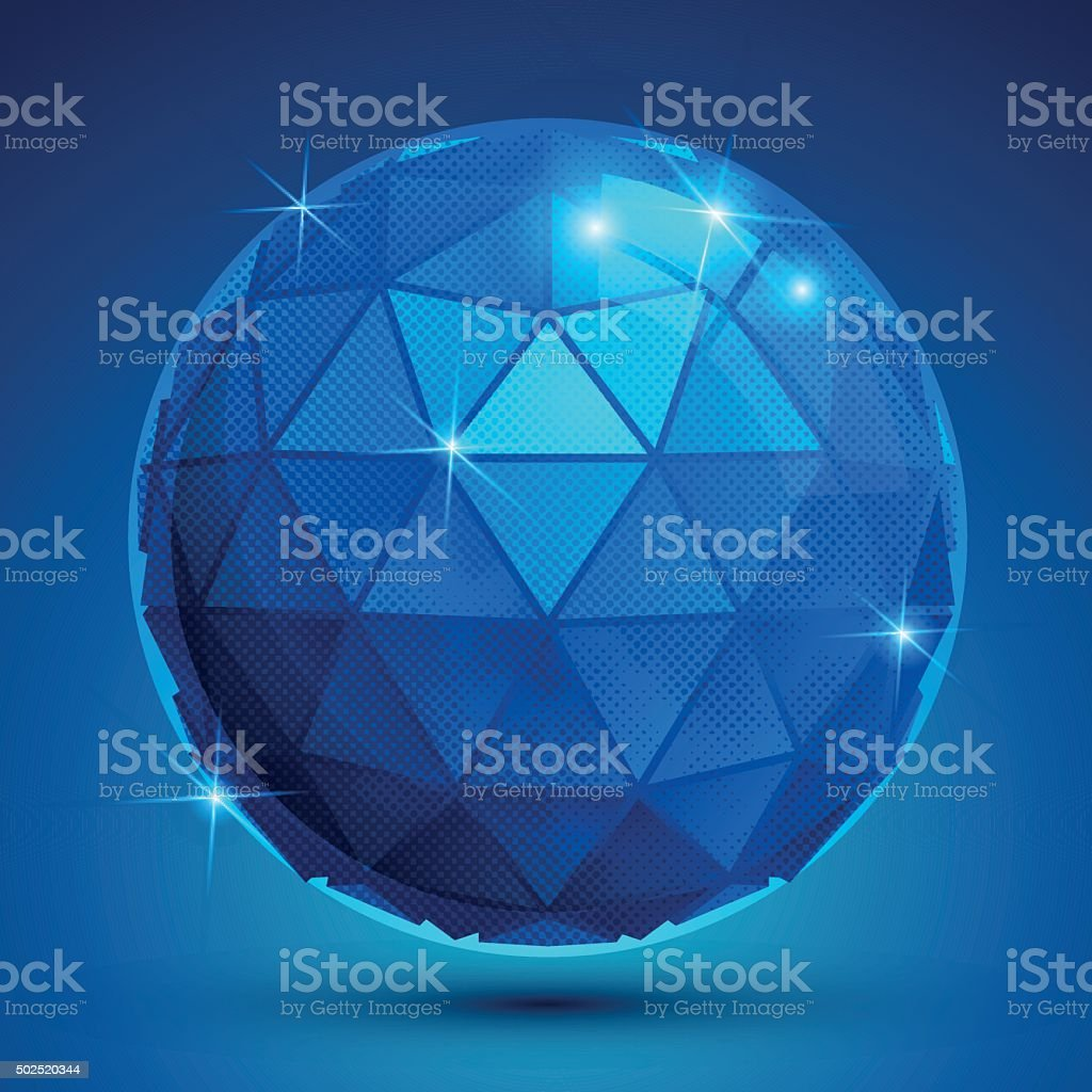 Grained plastic navy flash globe, geometric sparkling shape vector art illustration