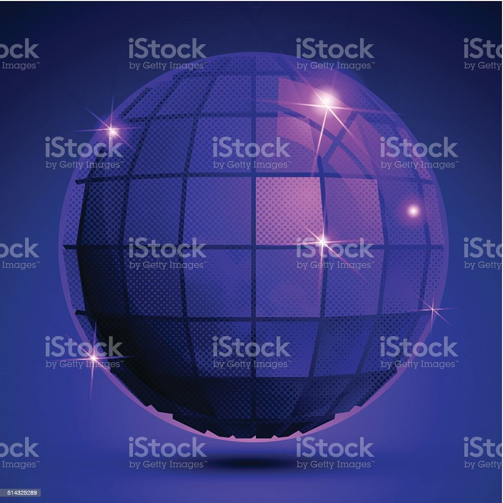 Grained plastic purple flash globe, bright geometric glisten eps vector art illustration