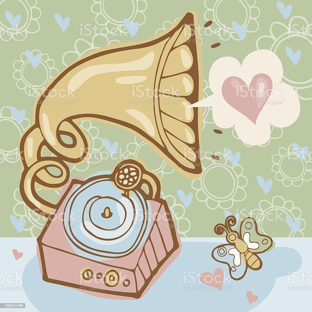 Gramophone and love royalty-free stock vector art