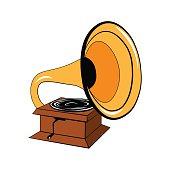 Gramophone Vector Illustration. Isolated on White Background
