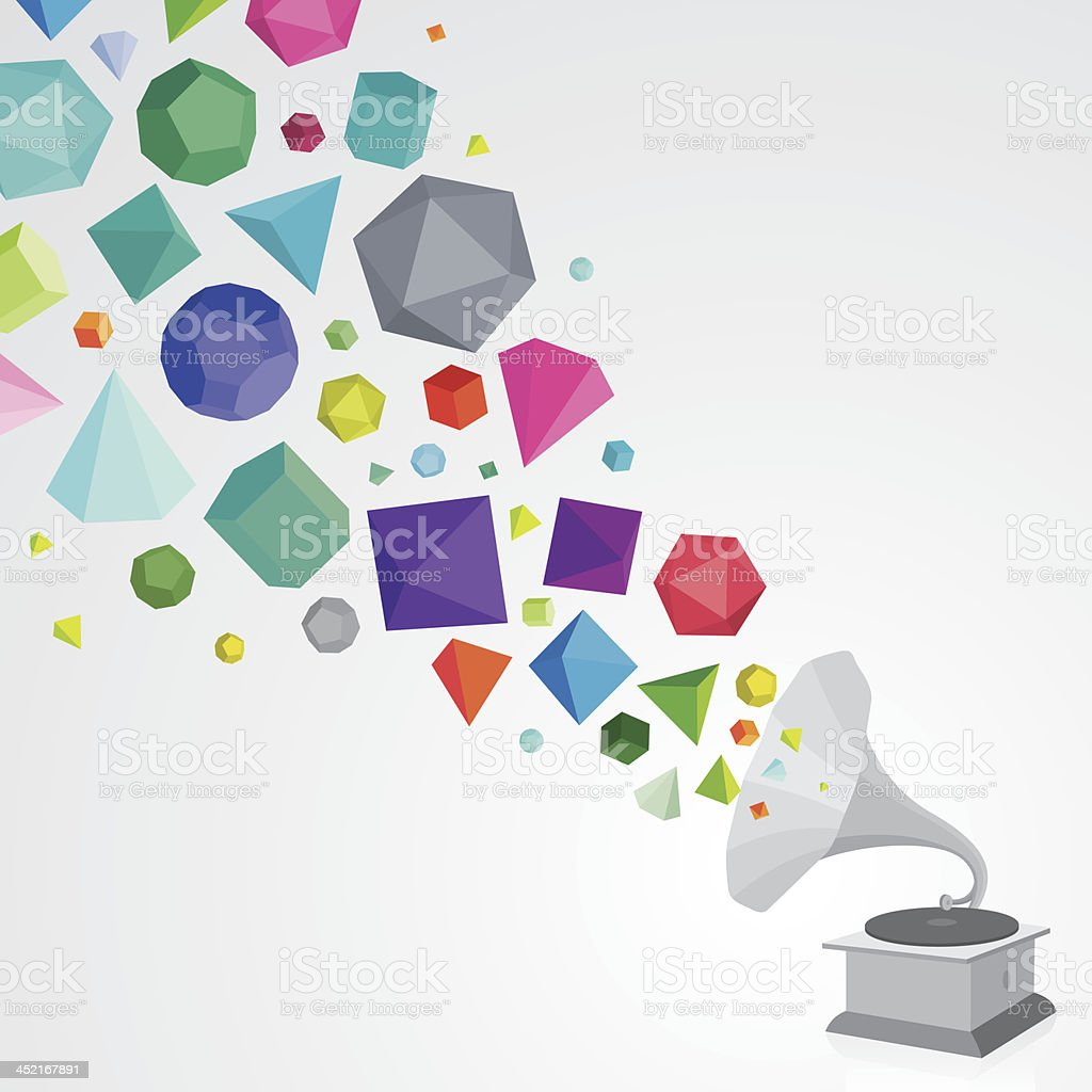 Gramophone with colourful gems royalty-free stock vector art