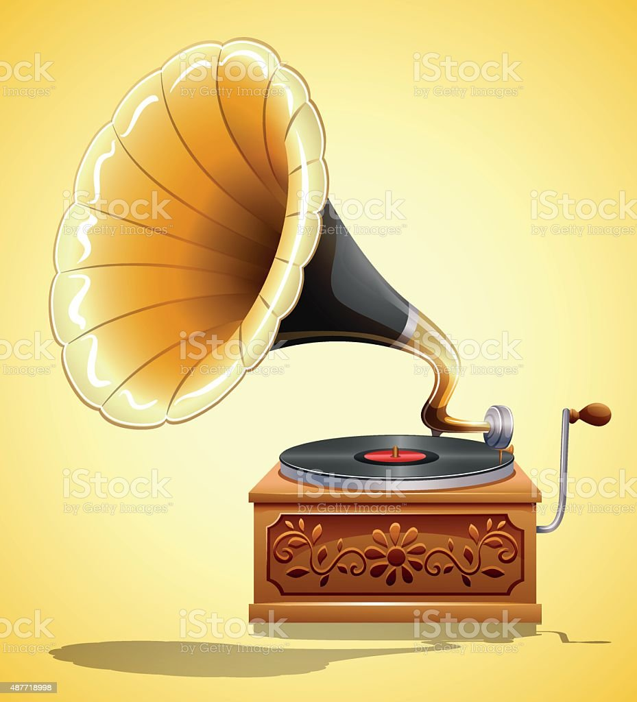 Gramophone with recorder on yellow vector art illustration