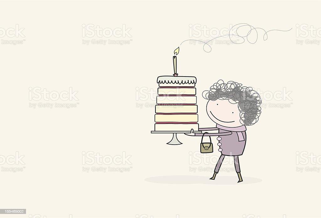 Gran holding a birthday cake royalty-free stock vector art