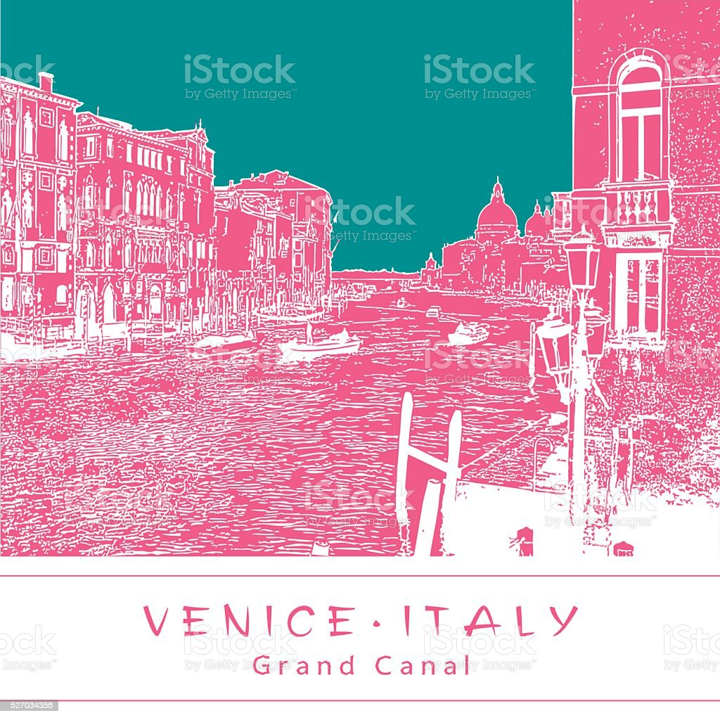 Grand Canal in Venice, Italy. vector art illustration