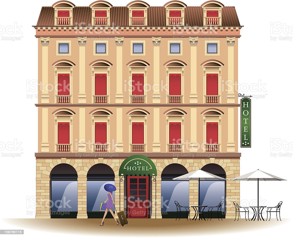 grand hotel vector art illustration