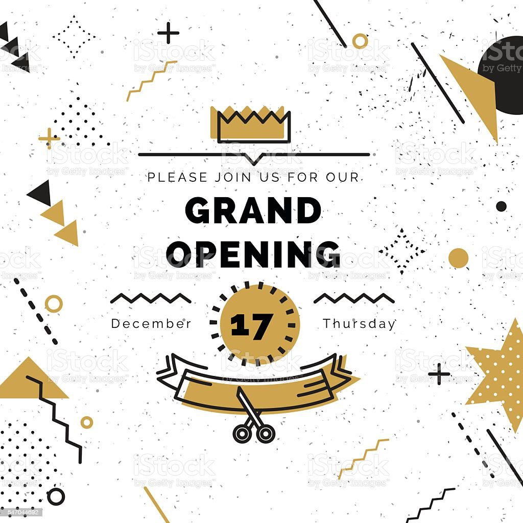 Grand opening banner in black and gold colors. vector art illustration