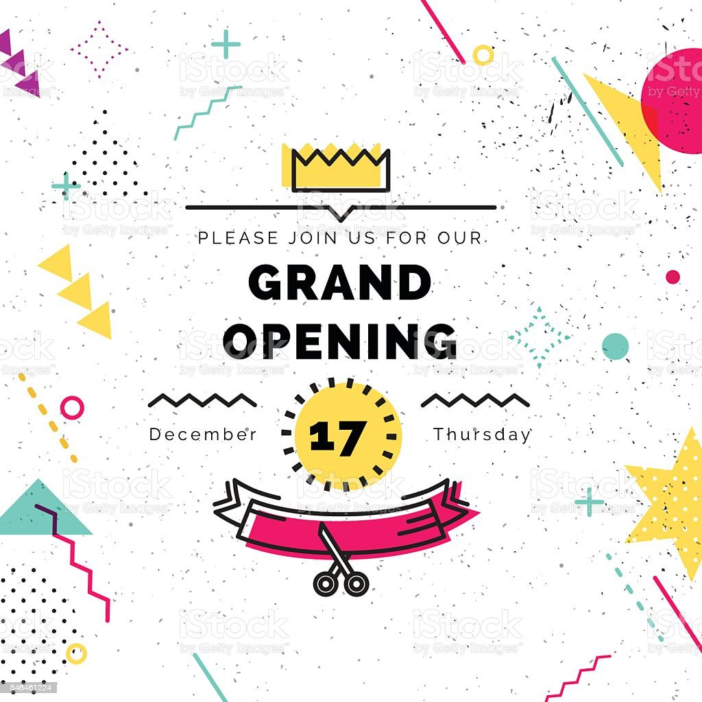 Grand opening banner in memphis style vector art illustration
