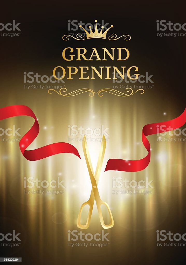 Grand opening banner with cut red ribbon and gold scissors. vector art illustration