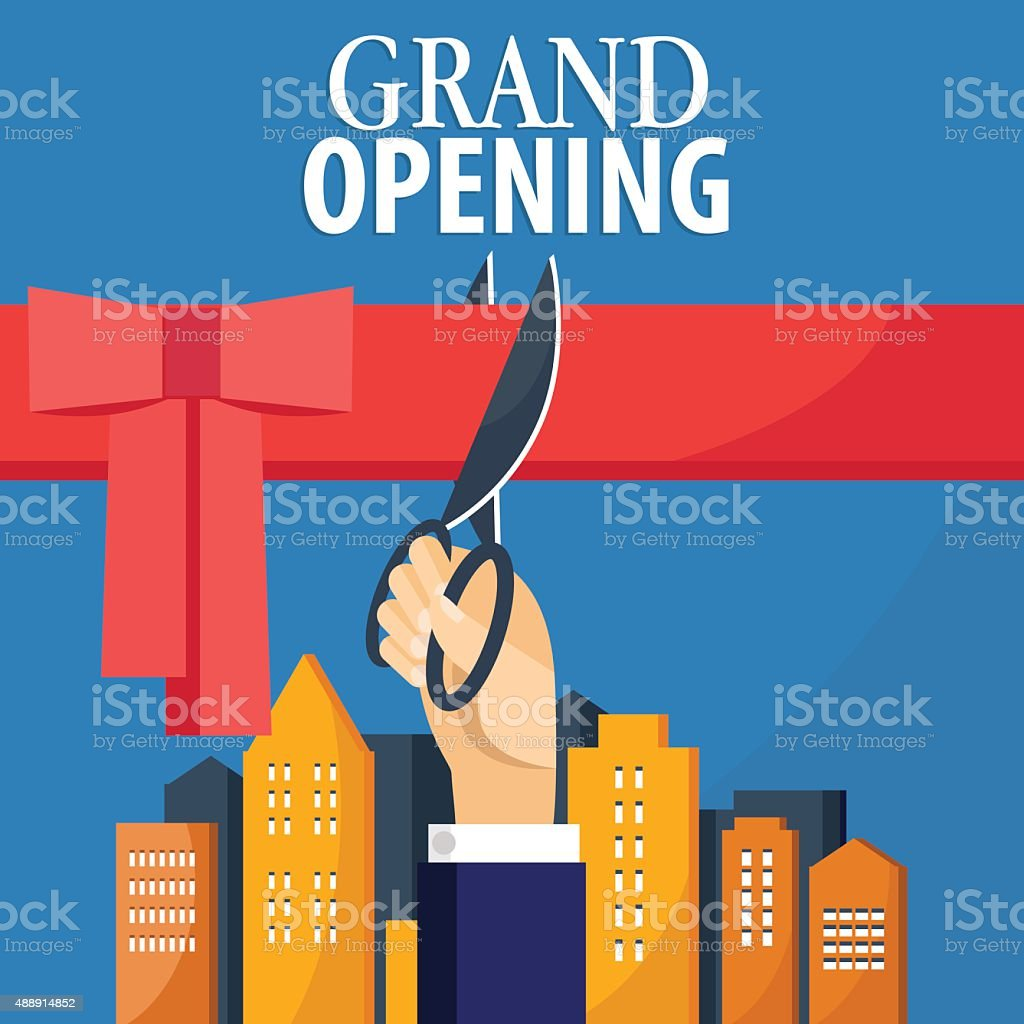 Grand opening card with hand cutting red ribbon. Inauguration concept vector art illustration