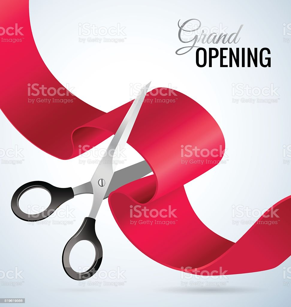 Grand opening card with red ribbon and silver scissors. vector art illustration