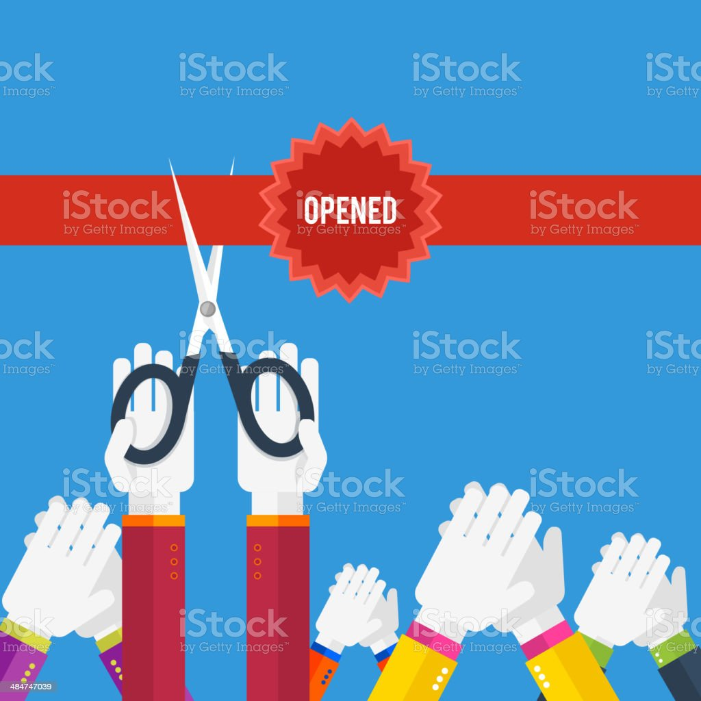Grand opening - cutting red ribbon vector art illustration