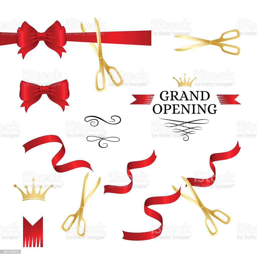 Grand opening decoration elements vector art illustration