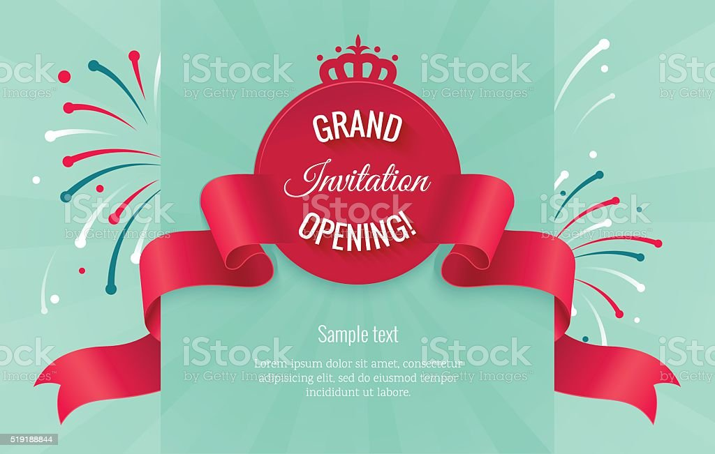 Grand opening horizontal banner with curving ribbon vector art illustration