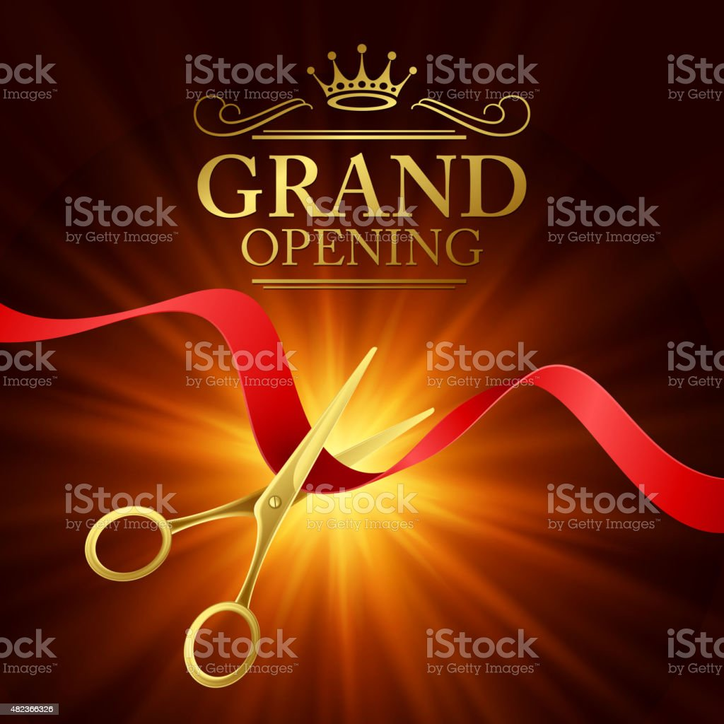 Grand opening illustration with red ribbon and gold scissors vector art illustration