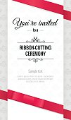 Grand opening invitation card with bows