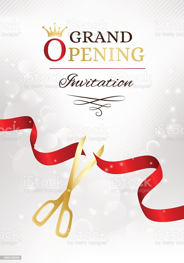 Grand opening invitation card with cut red ribbon and gold vector art illustration