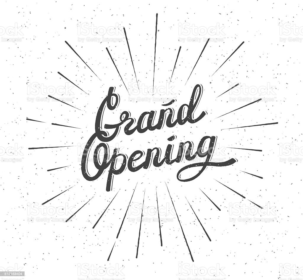 Grand Opening Lettering composition vector art illustration