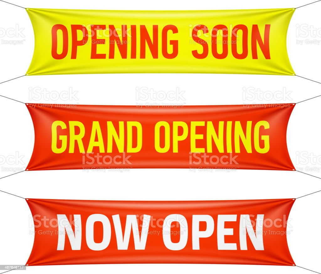 Grand Opening, Now Open banners vector art illustration