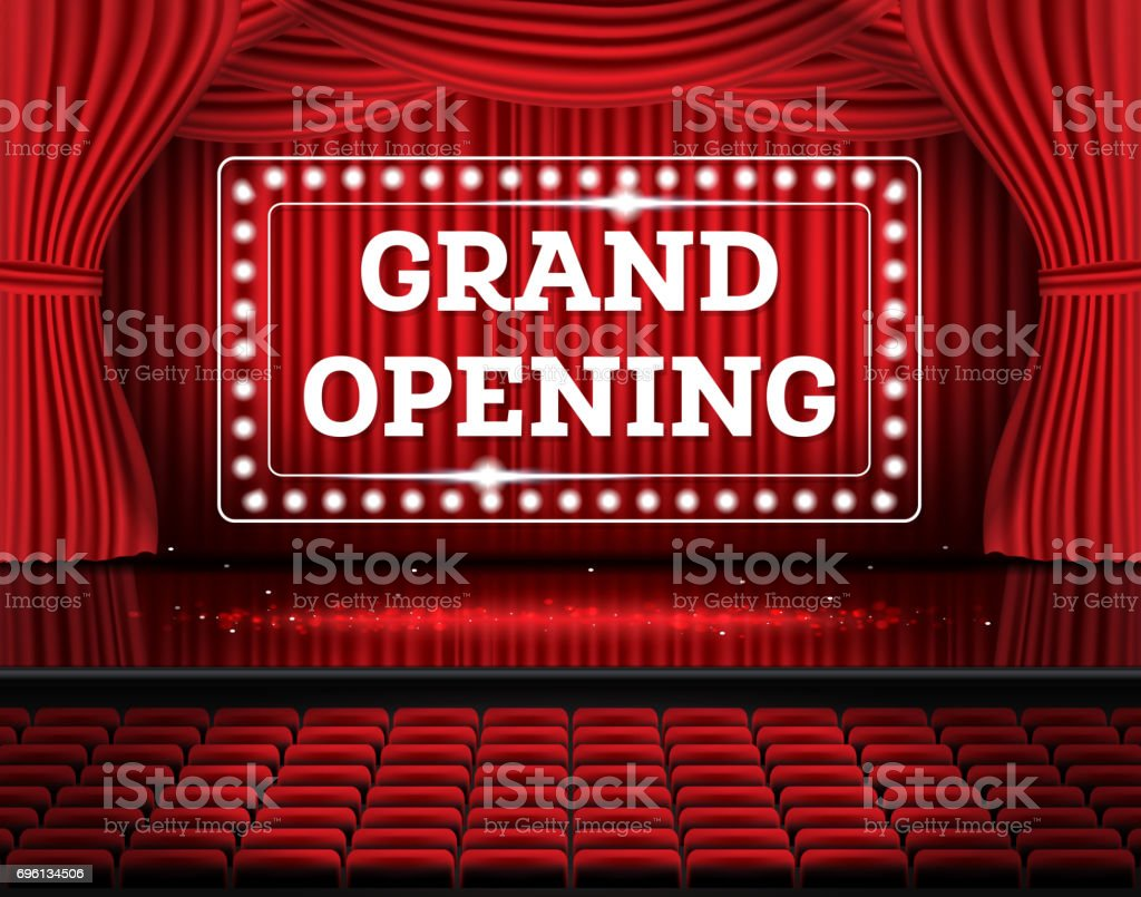 Grand Opening. Open Red Curtains with Neon Lights. vector art illustration