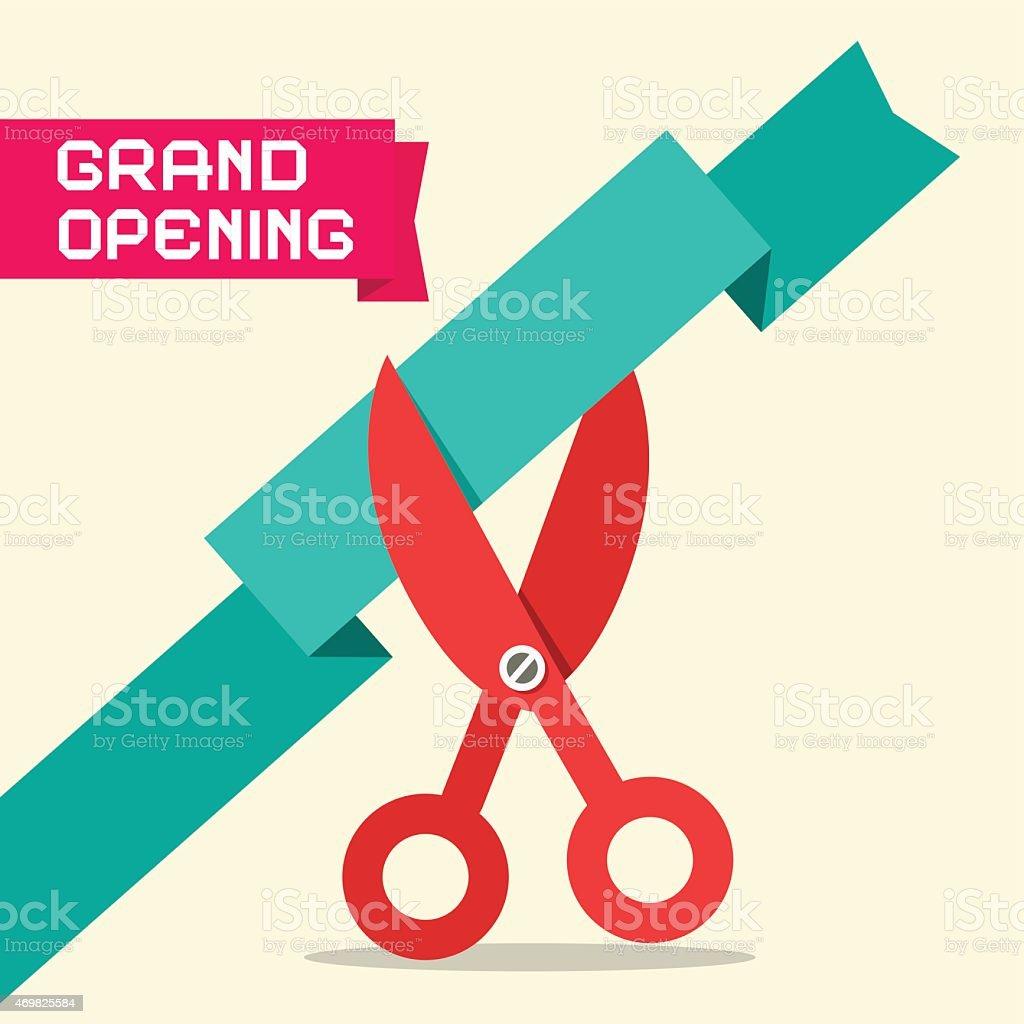 Grand Opening Retro Flat Design Vector Illustration vector art illustration