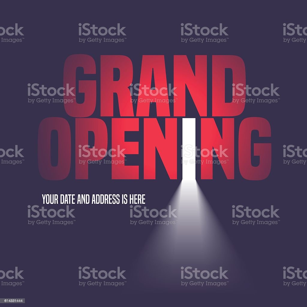 Grand opening vector illustration, background with open door vector art illustration