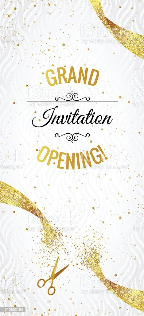 Grand opening vertical banner with gold sparkles. vector art illustration