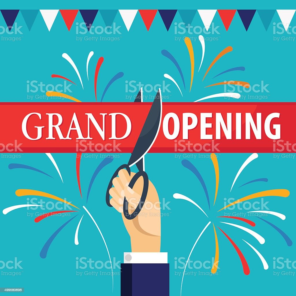Grand opening with fireworks and garland vector art illustration
